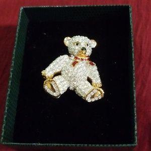 Swarovski crystal teddy bear pin-brooch